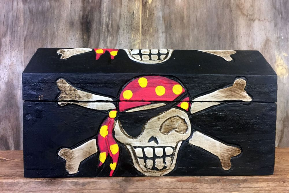 Large Hand Carved Wooden Pirate Skull & Bones Wooden Chest